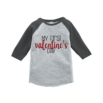 Custom Party Shop Kids My First Valentine's Day Grey Raglan