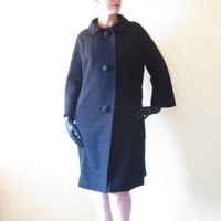 Vintage 50s Mid Century Dress Coat. Black Wool Stripes. Big Jeweled Buttons. Size M.