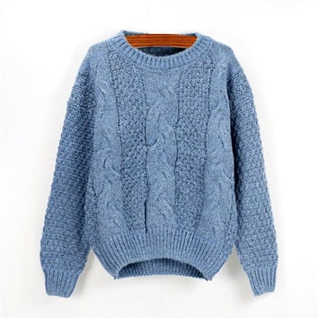 Blue Twisted Knit Casual Sweatshirt