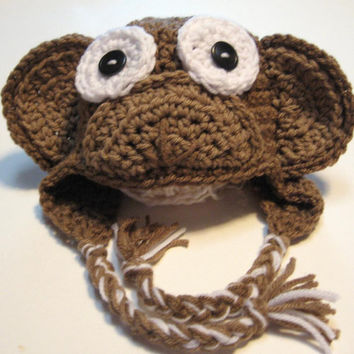 Newborn Monkey Hat. Ready to ship.  Crochet newborn photo prop.  Monkey Ear Flap Hat.