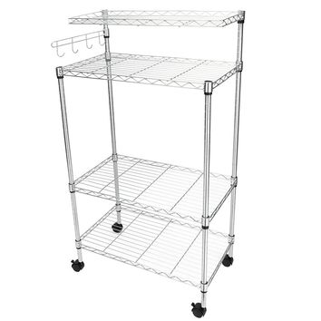 US 4Tier Kitchen Bakers Rack Microwave Oven Stand Storage Cart Workstation Shelf