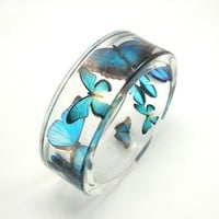 Blue Butterflies Bracelet, Resin bangle, Size M