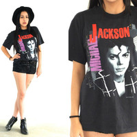 Vintage 1988 MICHAEL JACKSON Bad Usa Tour T Shirt // 80s Band Tee // Hipster // XS Extra Small / Small / Medium