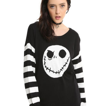 The Nightmare Before Christmas Jack Skellington Striped Sleeve Girls Sweater
