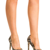 Mila Snake Print High Heel Court Shoes in Grey