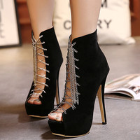 Round Toe Closed Lace-Up Stilletos