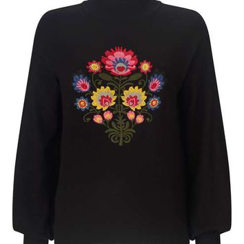 Floral Embroidered Knitted Jumper - Tops - Clothing