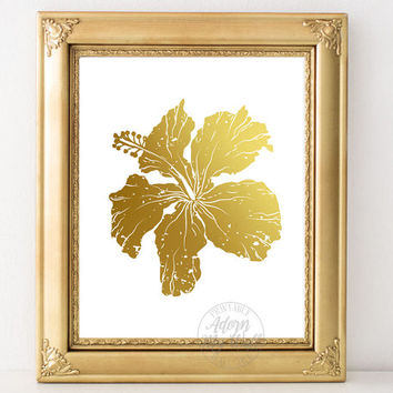 Hibiscus flower, tropical flower, hibiscus print, gold flower, botanical print, faux gold foil, tropical print, wall art, tropical decor