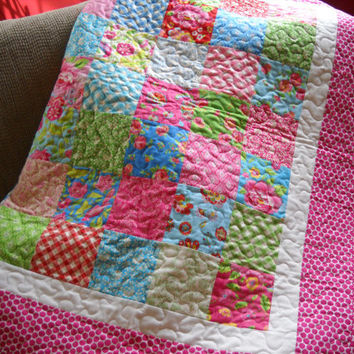Country Print Toddler Baby Girl Quilt or Wall Hanging