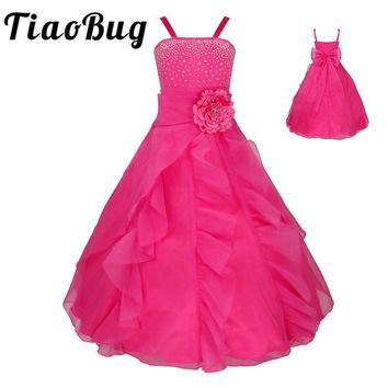 TiaoBug Kids Girls Sleeveless Bowknot Graduation Prom Gown Flower Girl Dresses Princess Wedding Communion Party Dress 2-14Y