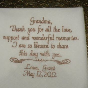 Grandma Wedding Hanky Keepsake Handkerchief By Canyon Embroidery