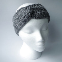 Grey Headband Ear Warmer Custom Color Hand Knitted Gift for Her Women Headband Crochet Grey Knit Headband Gray Knit Ear Warmer Retro Knit