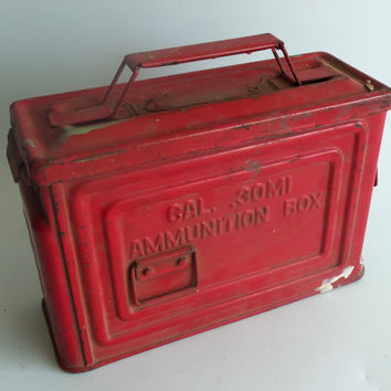 WWII Reeves Ammo Ammunition Box .30M1 Caliber Cal Bomber Red Paint World War II Rustic Industrial Storage Case Rusty Chippy Paint