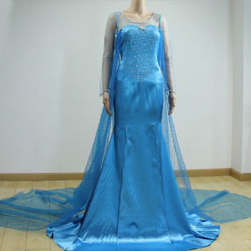 Disney Snow Queen Elsa Dress Cosplay Costume For Adult and Children
