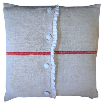 Grain Sack Ruffled Linen Pillow