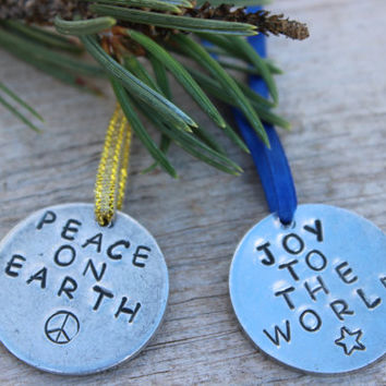 Custom Hand Stamped Ornament, Gift Tag, Name Tag, Pet Tag, Wine Charm, Key Chain, Candle Tag, Napkin Ring, Wedding Favor Holiday Party Favor