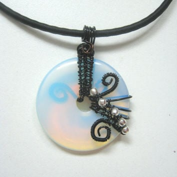 Necklace with Opalite donut pendant