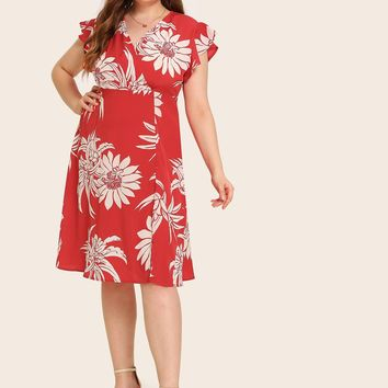 Plus Floral Print Surplice Front Butterfly Sleeve Dress