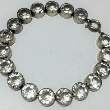 Bezel Set Crystal Glass Bracelet, Open Back Faceted Rhinestones, Silver Tone Setting, Art Deco to Mid Century 718m