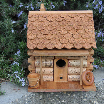 Log Cabin birdhouse, wood and wine corks