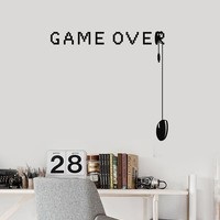 Game Over Vinyl Wall Decal Video Games Gamer Room Art Decor Stickers Mural (ig5322)
