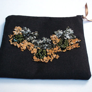 Embroidered Zipper pouch, clutch,Cosmetic bag, handmade