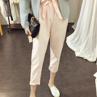 Pink High Waist Trousers with Bow Belt