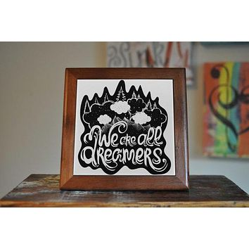 Dreamers Ceramic Tile Coaster Set Artwork Trivet Hot Plate Pot Stand Plant Tile Coasters Splashback Kitchen Decor Tile Interior