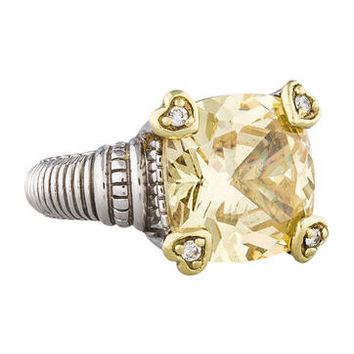 Judith Ripka JR Two Canary Crystal Fontaine Ring