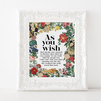 "Love quote ""As you wish"" Typography art Home decor Room poster Inspirational quote Motivational poster Printable quote Instant download"