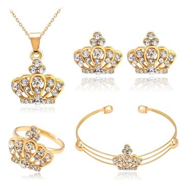 N214 Crystal Crown Jewelry Sets Wedding Engagement Women Bride Set Necklace/Earrings/Ring/Bracelet Fashion Party Gift