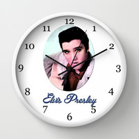 young Elvis Presley digital photo art.  the king of music, rock 'n' roll.  Wall Clock by PatternWorld