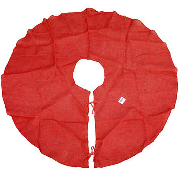 Red Burlap Christmas Tree Skirt, Round, 60-Inch