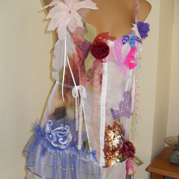 Charming silk tunic with crocheted doilies, embroidered silk ribbons.Twenties Style Gipsy Fairy