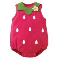 Baby Girl Cartoon Romper Jumpsuit Infant Toddler Boy Sleeveless Button Baby Suit New