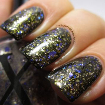 Struck by Pegasus - Glitter Topper with Silver, Gold and Metallic Blue Shards