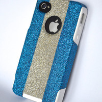 iPhone 4/4s Blue and Silver glitter Otterbox Case,Custom  Glitter Blue and Silver/ White Otterbox Color Combination, iPhone 4/4s cover case
