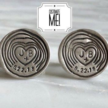 Personalized Woodland Wedding Date and Initials Cufflinks