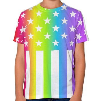 American Pride - Rainbow Stars and Stripes Youth T-Shirt Single Side All Over Print