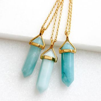 Amazonite Necklace - Gold