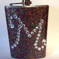 Glitter flask with initial