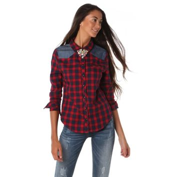 Red Collar Long Sleeve Blouse