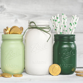 St Patrick's Day party decor table centerpieces green painted mason jars St Pattys day decor, rustic decor