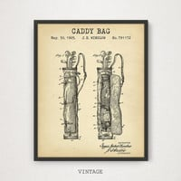 Golf Caddy Bag Patent Print, Digital Download, Golf Artwork, Golf Nursery, Sports Room Decor, Man cave Wall Art, Golfing Gallery Wall, PGA