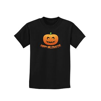 Happy Halloween Jack-o-lantern Childrens Dark T-Shirt