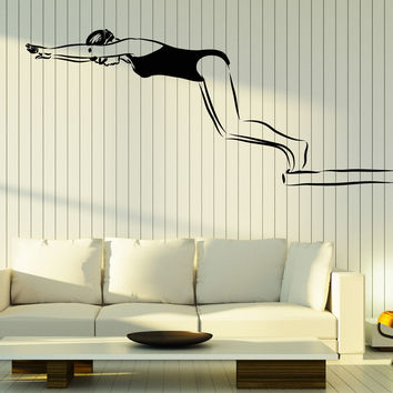 Wall Stickers Vinyl Decal Swimmer Girl Swimming Pool Diving Water Sports Unique Gift (z4609)