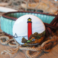 Lighthouse Turquoise blue leather cuff bracelet  by slashKnots