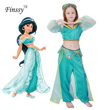 Cool Girls Aladdin's Lamp Jasmine Princess Costumes Cosplay For Children Halloween Party Belly Dance Dress Indian Princess CostumeAT_93_12