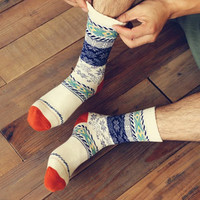 Vintage Winter Tribal Pattern Cotton Socks for Men, Cotton Short/ Medium Cotton Socks,Christmas Gift, Men Socks