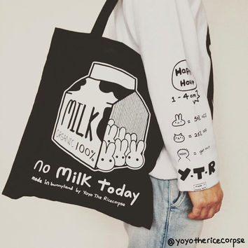 10% O F F NO MILK TODAY tote bag